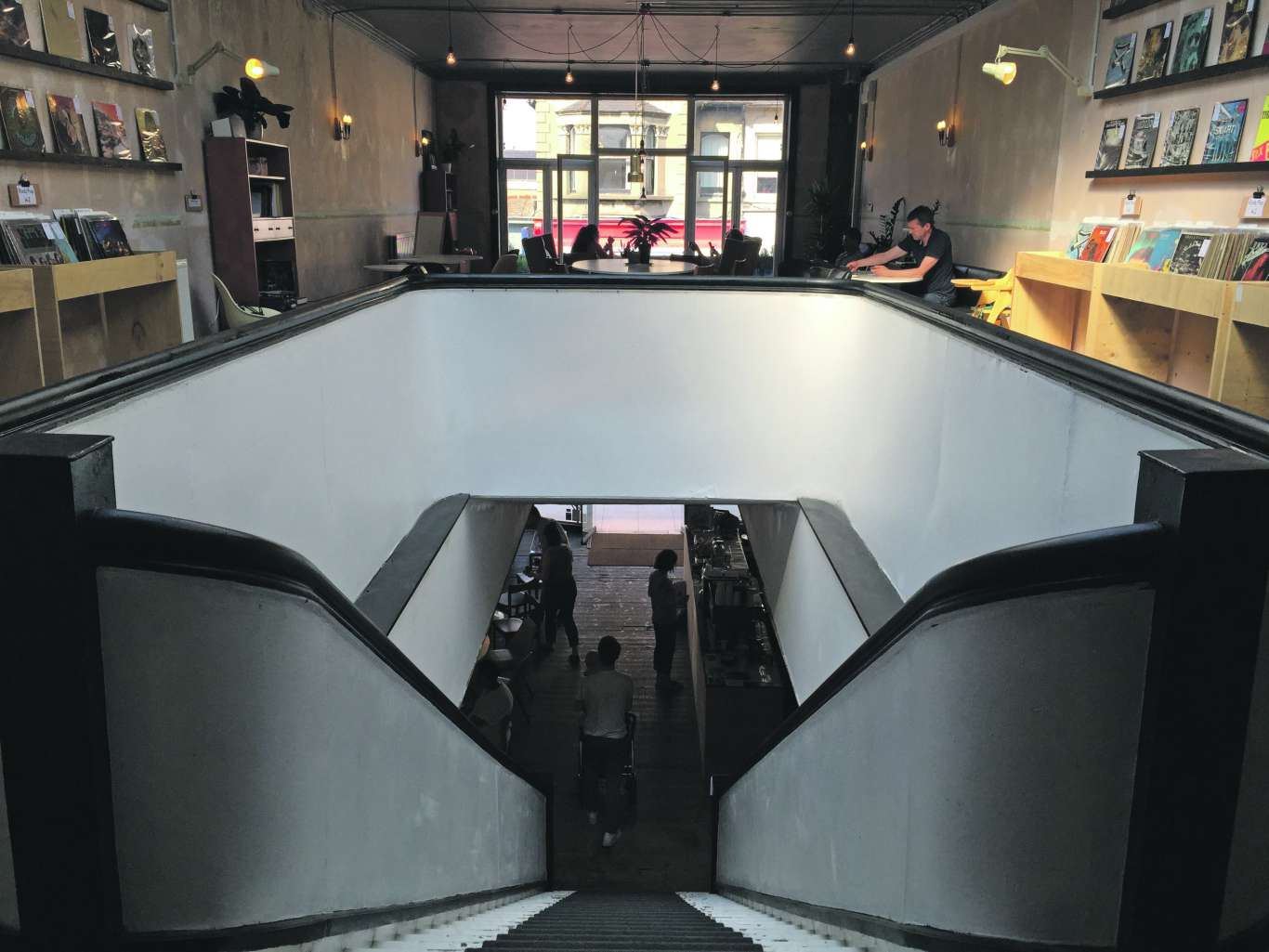 Cliff's cafe viewed from the top of its black and white staircase. Photo: Stephen Emms
