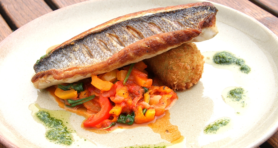 Sea bass with crab croquette at The Riverside. Photo: Riverside