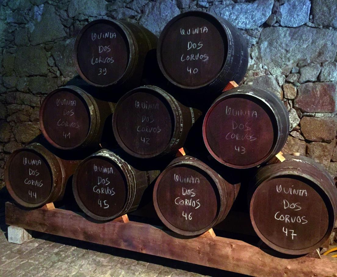 French oak barrels at Quinta dos Corvos port cellar in Porto