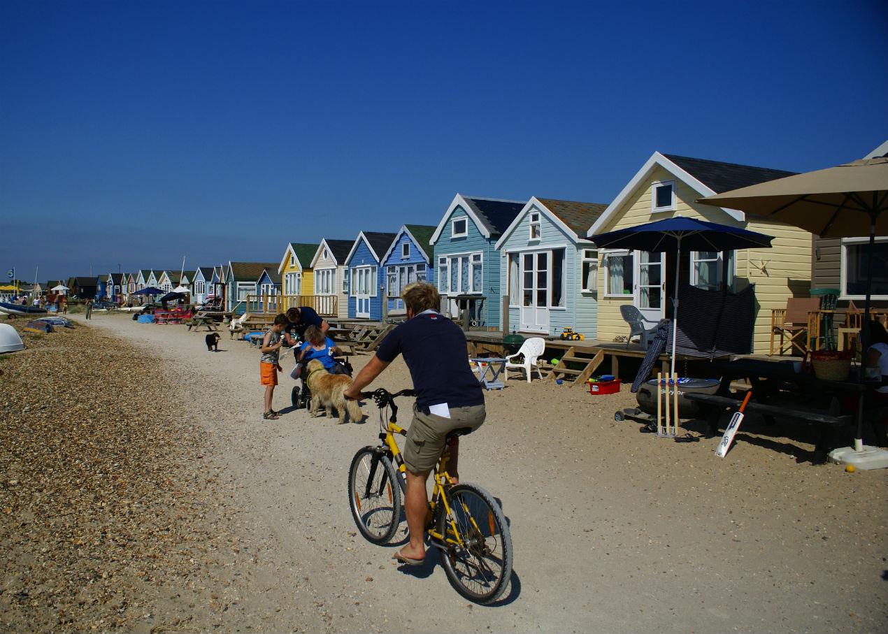 Cycling in Mudeford, Christchurch, Dorset
