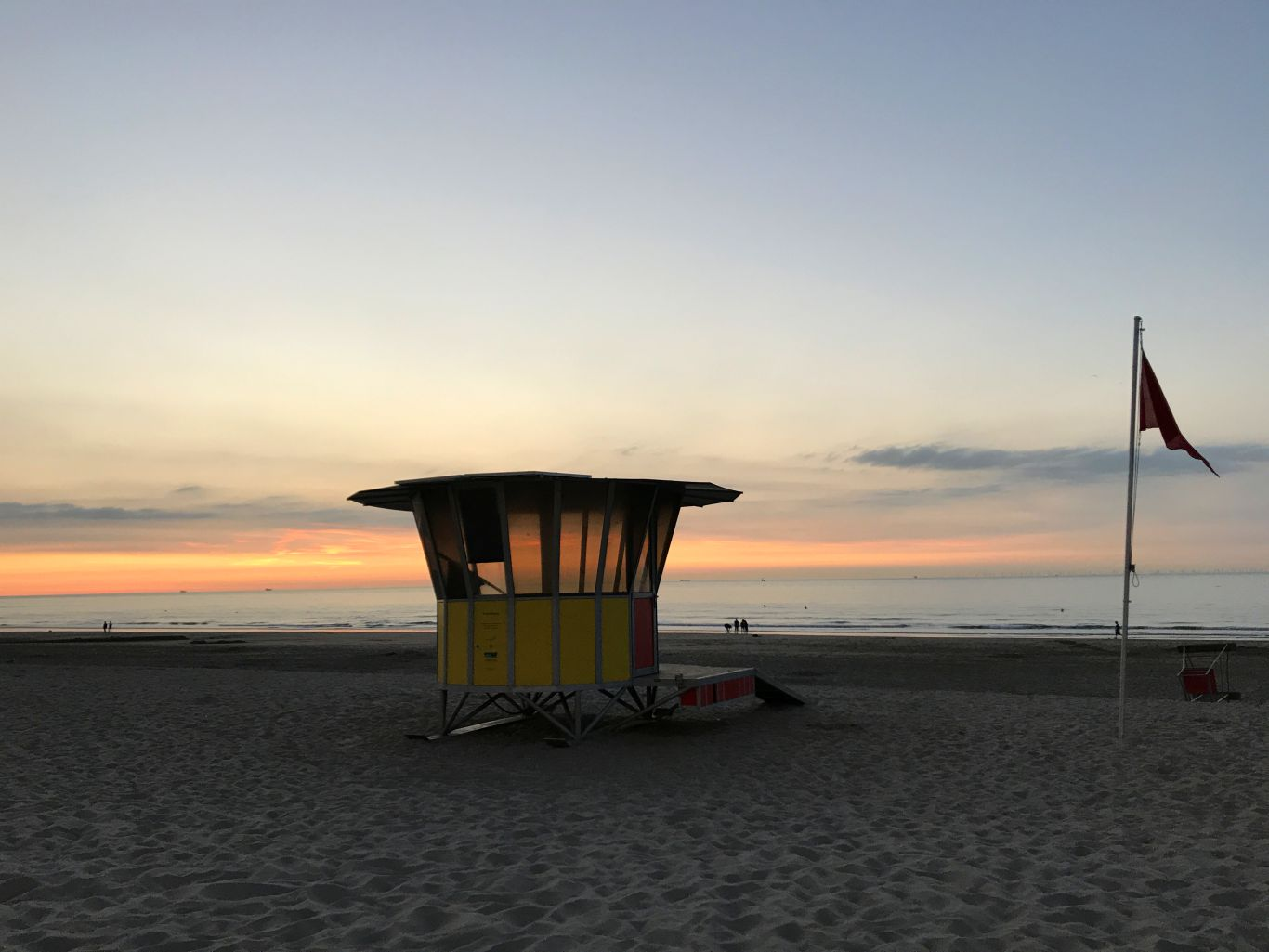 The beach at sunset in Blankenberge