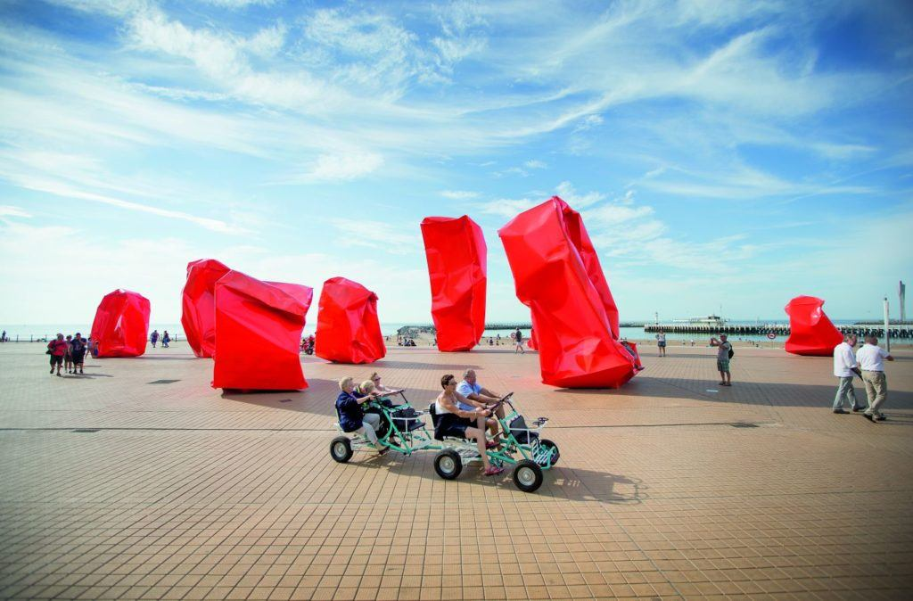 Red sculptures on the harbour at Ostend