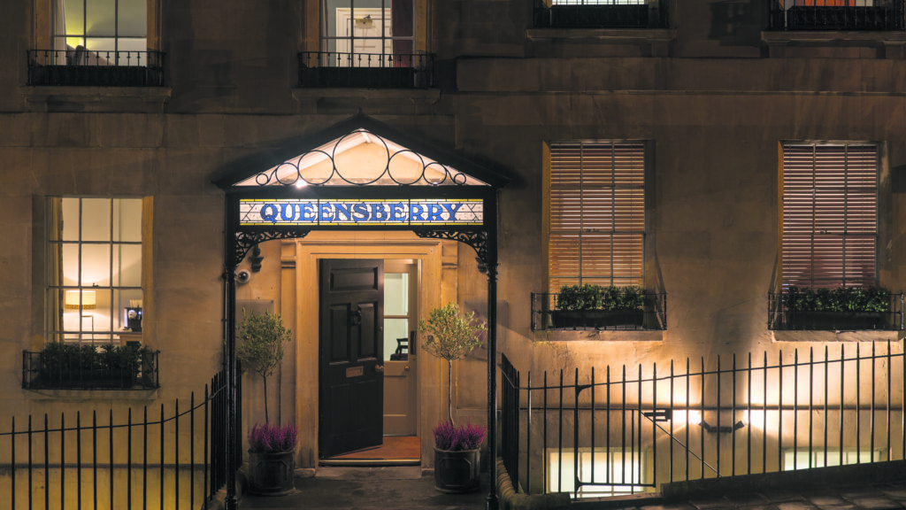Exterior of Queensberry Hotel at night