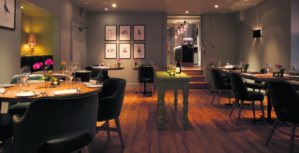 Interior of The Olive Tree restaurant at Queensberry Hotel in Bath