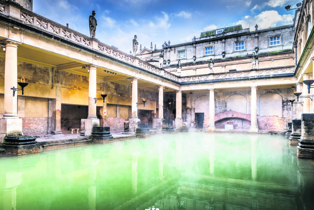 Steam rising from the Great Bath on a visit to Queensberry Hotel in Bath